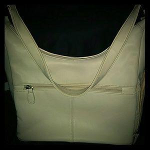 Aurielle Cream Genuine Leather Shoulder Bag